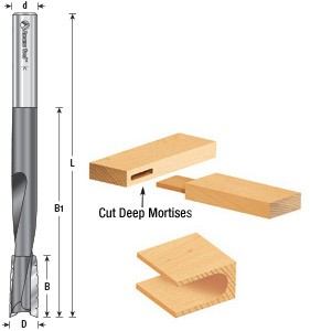 "Up-Shear Bit Slot Mortiser Carbide Tipped 2 Flute 1/2"" Dia. 1"" Cutting 2-3/4"" B1 1/2"" Shank 6"" Overall Length 45540"